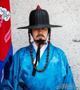 Travel photography:Seoul Gyeongbokgung palace guard, South Korea