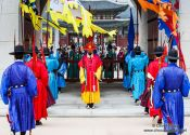 Travel photography:Changing of the guards at Seoul`s Gyeongbokgung palace, South Korea