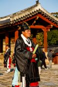Travel photography:Man at the Jongmyo Royal Shrine in Seoul, South Korea