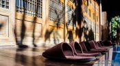 Travel photography:Slippers aligned outside a house in Seoul Samcheonggak, South Korea