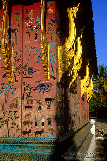 Facade detail at Wat Xieng Thong in Luang Prabang