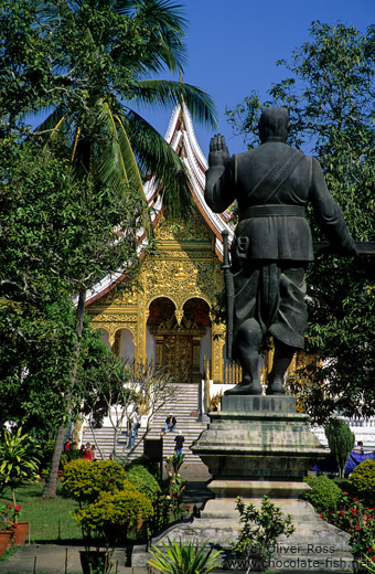 King Sisavang Vong Statue in the Palace Grounds in Luang Prabang