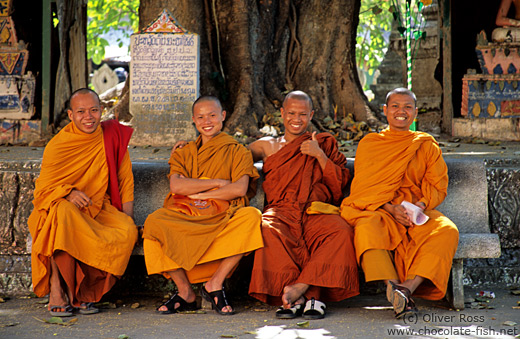 Group of novice monks in Vientiane