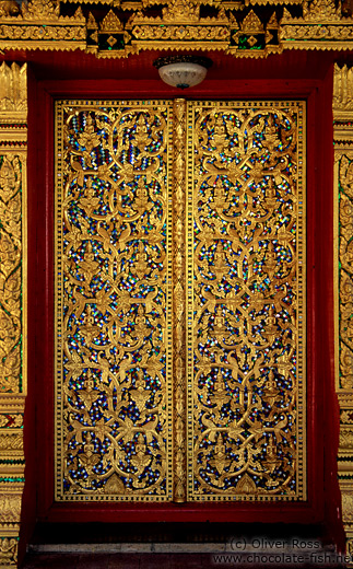 Door of the Wat Mixai temple in Vientiane