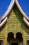 Travel photography:Haw Pha Bang temple facade detail in Luang Prabang, Laos