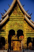 Travel photography:Facade of the Haw Pha Bang temple in the evening light, Laos
