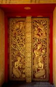 Travel photography:Door of the Wat Mixai temple in Vientiane, Laos