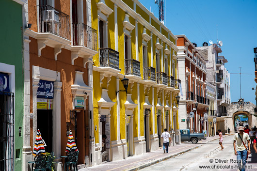 Campeche street with colonial houses