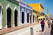 Travel photography:Campeche street and colonial houses, Mexico