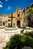 Travel photography:Church garden in Campeche, Mexico