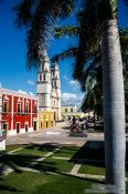 Travel photography:View of Campeche curch from the city walls, Mexico