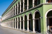 Travel photography:Colonnades along the main square in Campeche, Mexico