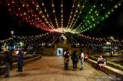 Travel photography:Decorations in preparation for the independence day celebrations in Oaxaca, Mexico