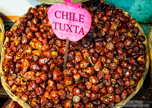 Chilli being sold at the Oaxaca market