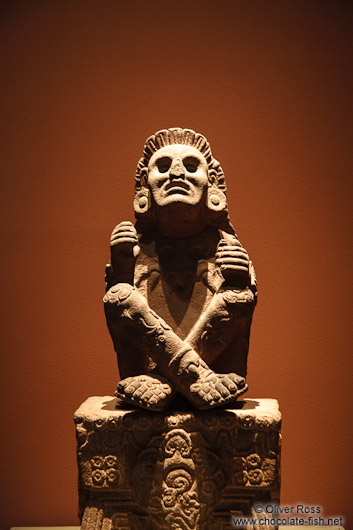 Sculpture of Xochipilli, god of art, games, beauty, dance, flowers, and song in Aztec mythology at the Mexico City Anthropological Museum