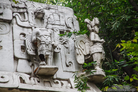 Facade detail of a Mayan temple at the Mexico City Anthropological Museum