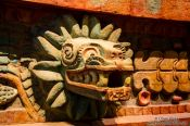Travel photography:Facade detail of the Pyramid of the Feathered Serpent at the Mexico City Anthropological Museum, Mexico