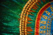 Travel photography:Detail of the Penacho de Moctezuma (feathered headdress) at the Mexico City Anthropological Museum, Mexico