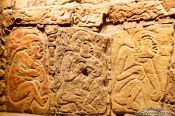 Travel photography:Stone carvings of `Los Danzantes' from Monte Alban at the Mexico City Anthropological Museum, Mexico
