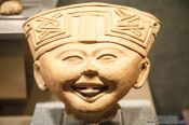 Travel photography:Smiling face (Carita sonriente) at the Mexico City Anthropological Museum, Mexico