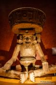 Travel photography:Sculpture of Dios Viejo (old god) at the Mexico City Anthropological Museum, Mexico