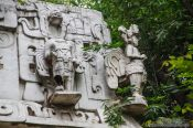 Travel photography:Facade detail of a Mayan temple at the Mexico City Anthropological Museum, Mexico