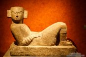 Travel photography:Sculpture of Chac Mool at the Mexico City Anthropological Museum, Mexico