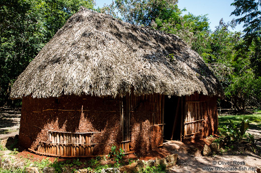 Reconstruction of a traditional Mayan house at the Chichen Itza archeological site