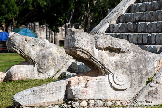 Snake heads at the Chichen Itza archeological site