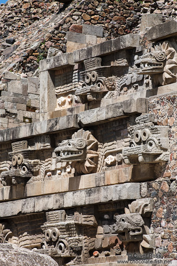 Stone carvings at the Temple of Quetzalcoatl at the Teotihuacan archeological site