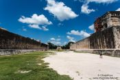 Travel photography:Pelota playing field at the Chichen Itza archeological site, Mexico
