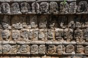 Travel photography:Carved skulls at the Chichen Itza archeological site, Mexico