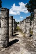 Travel photography:Row of columns (columnata) at the Chichen Itza archeological site, Mexico