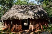 Travel photography:Reconstruction of a traditional Mayan house at the Chichen Itza archeological site, Mexico