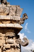 Travel photography:Facade details of the church at the Chichen Itza archeological site, Mexico
