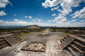 Travel photography:Panoramic view of the Teotihuacan archeological site with the Avenue of the Dead, Mexico