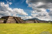Travel photography:Constructions along the Avenue of the Dead at the Teotihuacan archeological site, Mexico