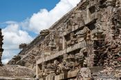 Travel photography:Stone carvings at the Temple of Quetzalcoatl at the Teotihuacan archeological site, Mexico