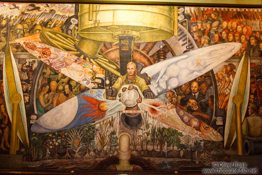 Mural by Diego Rivera entitled `El hombre en la encrucijada` (man at the crossroads) at the Palacio de Bellas Artes