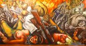 Travel photography:Mural entitled `Katharsis` by José Clemente Orozco in the Palacio de Bellas Artes, Mexico