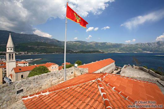 View from Budva castle with Montenegrin flag
