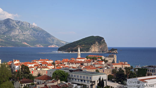 Panoramic view of Budva`s old town
