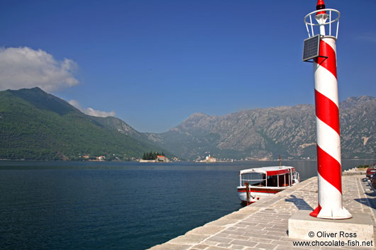 View of Perast harbour with the islands of Sv. Djordje (St. George) and Gospa od Škrpjela (Our Lady of the Rock)