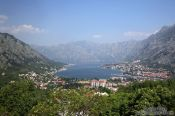 Travel photography:Panoramic view of Kotor and the bay Boka Kotorska, Montenegro
