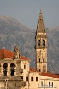 Travel photography:Perast church at sunset, Montenegro