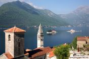 Travel photography:View of the two churches in Perast with the islands of Sv. Djordje (St. George) and Gospa od Škrpjela (Our Lady of the Rock), Montenegro