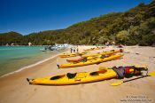 Travel photography:Sea kayaks in Abel Tasman National Park, New Zealand