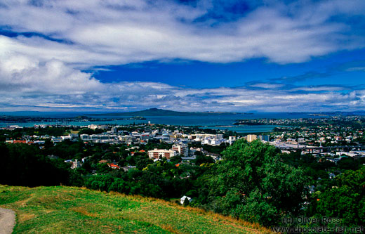 Auckland viewed from Mt Eden with Rangitoto Island in the background