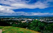 Travel photography:Auckland viewed from Mt Eden with Rangitoto Island in the background, New Zealand