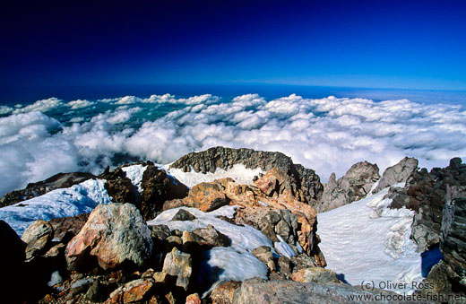 Above the clouds on top of Mt Taranaki